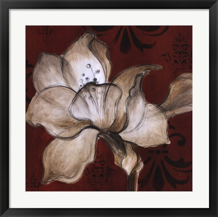 Framed Amaryllis on Red II Print