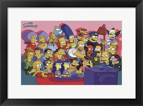 Framed Simpsons Cast on Couch Print