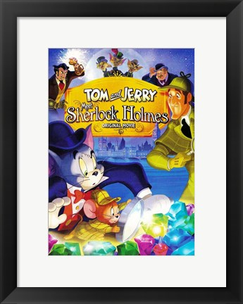 Framed Tom and Jerry Meet Sherlock Holmes Print