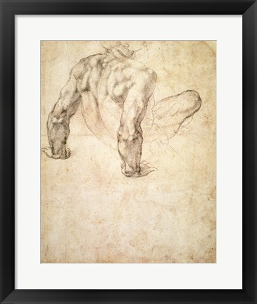 Framed W.63r Study of a male nude, leaning back on his hands Print