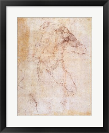 Framed Study of a male nude Print