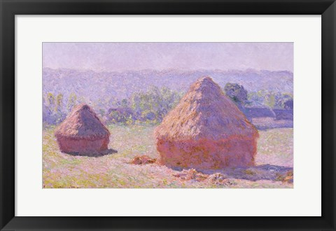 Framed Haystacks, or The End of the Summer, at Giverny, 1891 Print