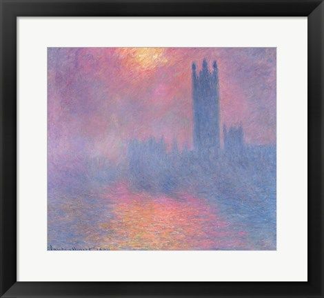 Framed Houses of Parliament, London, with the sun breaking through the fog, 1904 Print