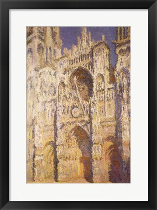 Framed Rouen Cathedral in Full Sunlight: Harmony in Blue and Gold, 1894 Print