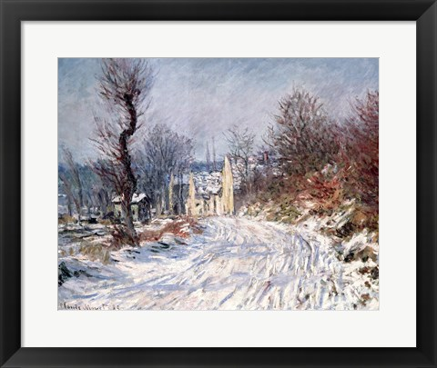 Framed Road to Giverny, Winter, 1885 Print