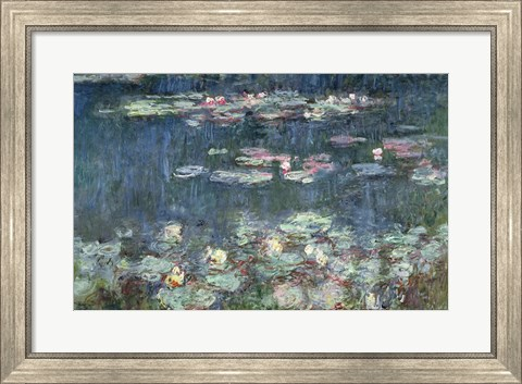 Framed Waterlilies: Green Reflections, 1914-18 (detail) Print