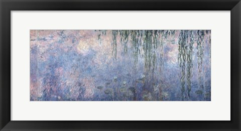 Framed Waterlilies: Morning with Weeping Willows, detail of central section, 1914-18 Print