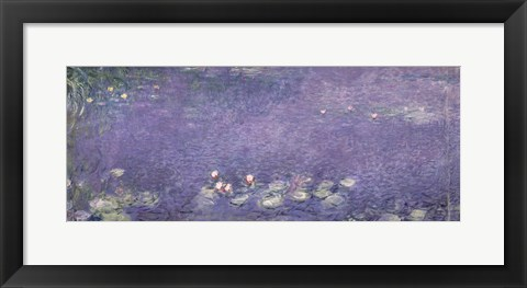 Framed Waterlilies: Morning, 1914-18 (centre left section) Print