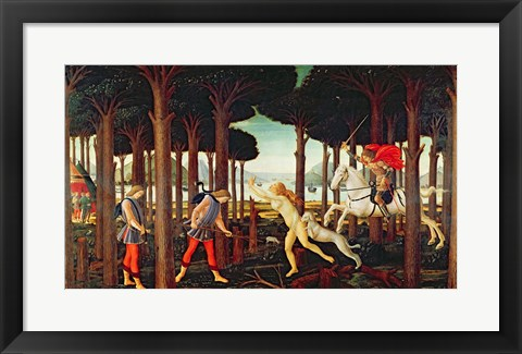Framed Story of Nastagio degli Onesti: Nastagio's Vision of the Ghostly Pursuit in the Forest, 1483 or 1487 Print