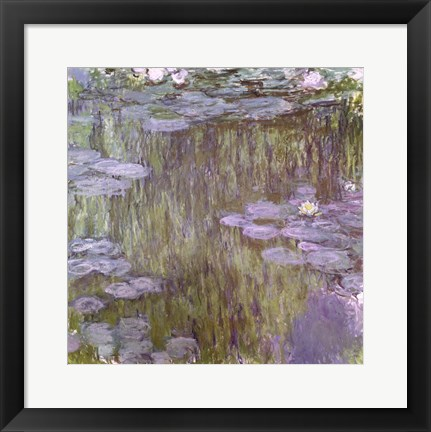 Framed Nympheas at Giverny, 1918 Print