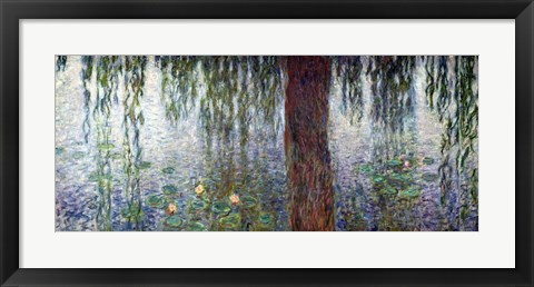 Framed Waterlilies: Morning with Weeping Willows, detail of the left section, 1915-26 Print
