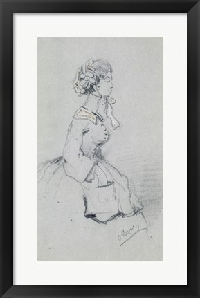 Framed Young woman with a ribbon, 1857 Print