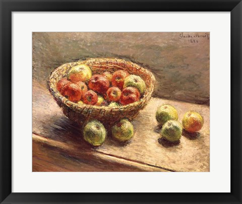 Framed Bowl of Apples, 1880 Print