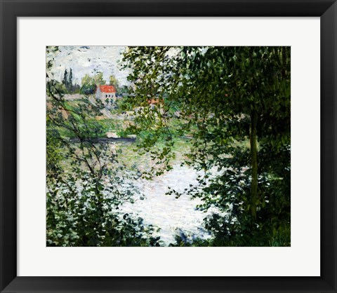 Framed Ile de La Grande Jatte Through the Trees, 1878 Print