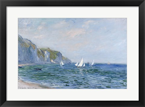 Framed Cliffs and Sailboats at Pourville Print