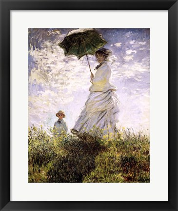 Framed Woman with a Parasol - Madame Monet and Her Son Print