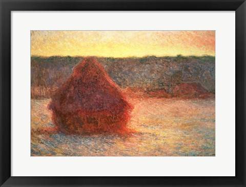 Framed Haystacks at Sunset, Frosty Weather, 1891 Print