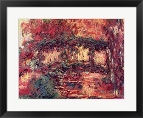 Framed Waterlilies: The Japanese Bridge, or Japanese Bridge at Giverny, c.1923 Print