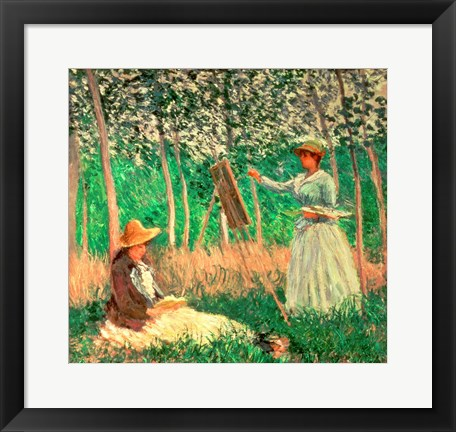 Framed In the Woods at Giverny: Blanche Hoschede at her easel with Suzanne Hoschede reading, 1887 Print