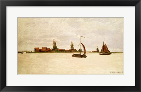 Framed Outer Harbour at Zaandam, 1871 Print