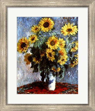 Framed Still life with Sunflowers, 1880 Print