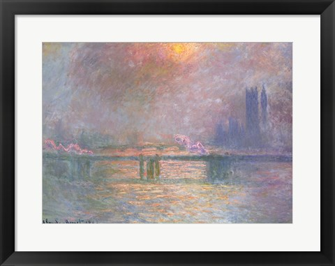 Framed Thames with Charing Cross bridge, 1903 Print