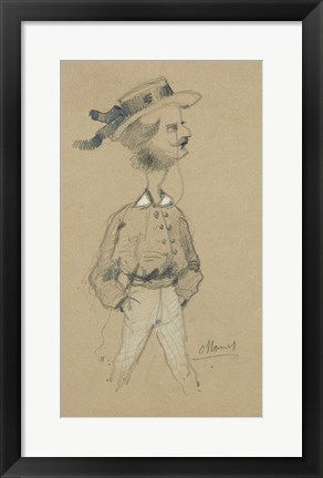 Framed Man with a Boater Hat, 1857 Print