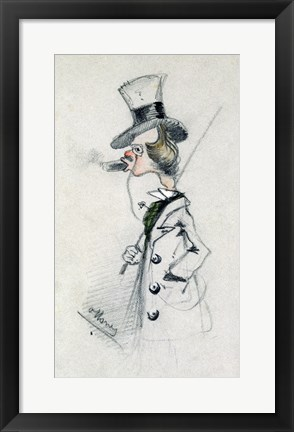 Framed Dandy with a Cigar, 1857 Print