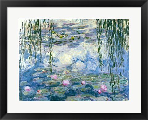 Framed Waterlilies, 1916-19 Print