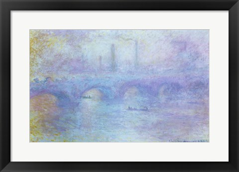 Framed Waterloo Bridge, Effect of Fog, 1903 Print
