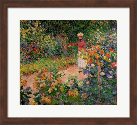 Framed Garden at Giverny, 1895 Print