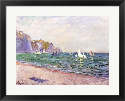 Framed Boats below the Cliffs at Pourville, 1882 Print