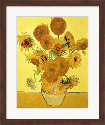 Framed Sunflowers, 1888 yellow Print