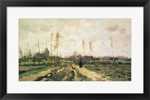 Framed Landscape with a Church and Houses, Nuenen, 1885 Print