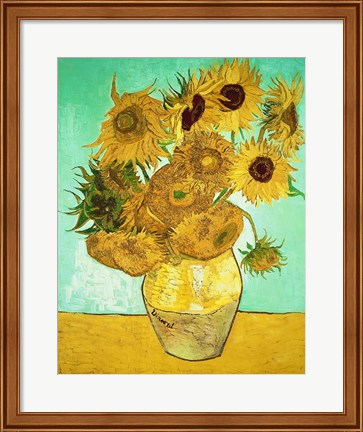 Framed Sunflowers, 1888 Print