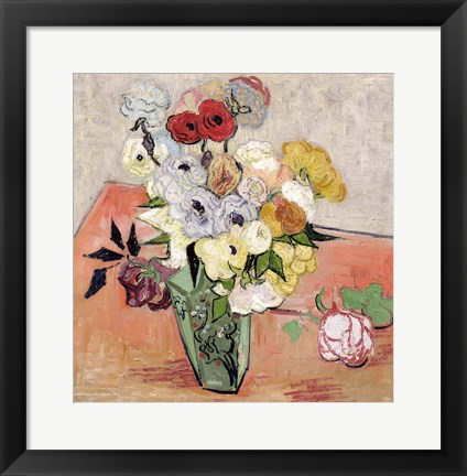Framed Roses and Anemones, 1890 Print