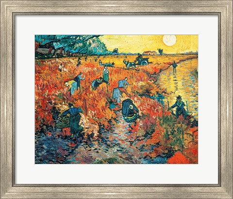 Framed Red Vineyards at Arles, 1888 Print