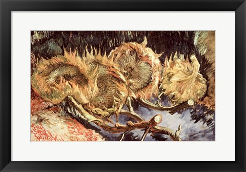 Framed Four Withered Sunflowers, 1887 Print