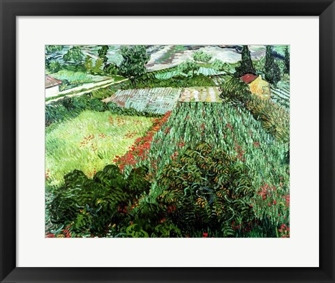 Framed Field with Poppies, 1889 Print