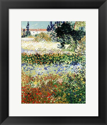 Framed Garden in Bloom, Arles, 1888 Print