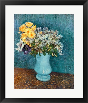 Framed Vase of Flowers, 1887 Print