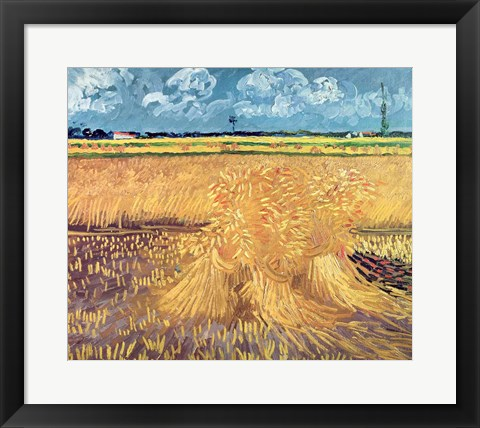 Framed Wheatfield with Sheaves, 1888 - wheat pile Print