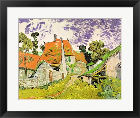 Framed Street in Auvers-sur-Oise, 1890 Print