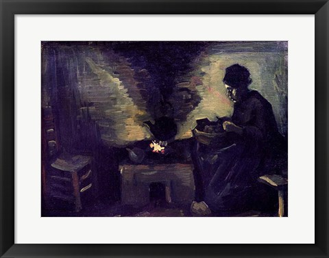 Framed Peasant Woman by the Hearth, c.1885 Print