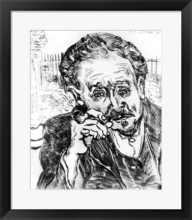 Framed Man with the Pipe, Portrait of Doctor Paul Gachet Print