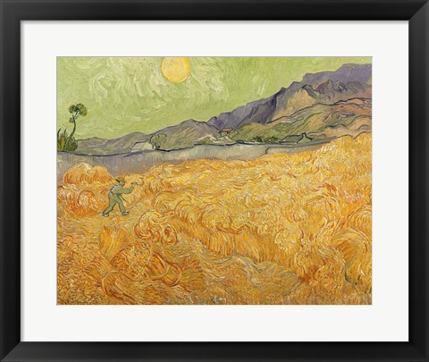 Framed Wheatfield with Reaper, 1889 Print