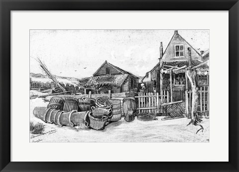 Framed fish drying barn at Scheveningen, c.1882 Print