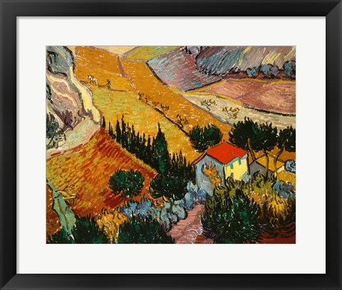 Framed Landscape with House and Ploughman, 1889 Print