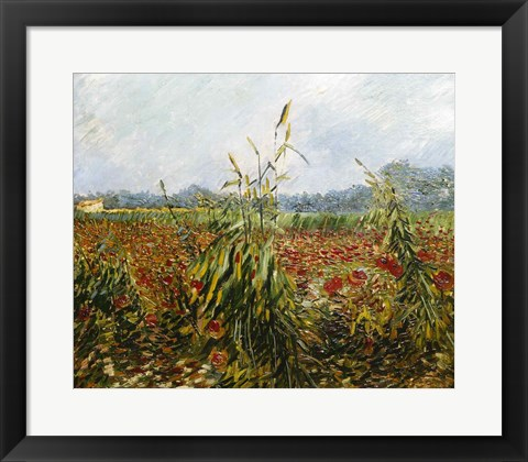 Framed Corn Fields and Poppies, 1888 Print