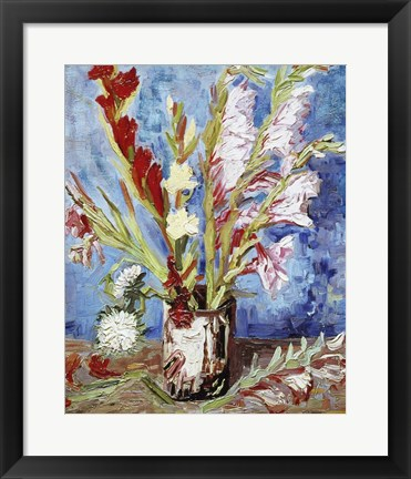 Framed Vase with Gladioli Print